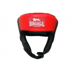 Jab Open Face Headguard - Synthetic Leather black/red